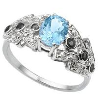 FANTASTIC !  1.00 CARAT BABY SWISS BLUE TOPAZ & 1/3 CARAT SAPPHIRE 925 STERLING SILVER RING