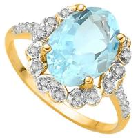 AWESOME ! 3.04 CARAT BABY SWISS BLUE TOPAZ & 1/5 CARAT (28 PCS) DIAMOND 10KT SOLID GOLD RING