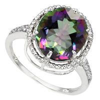 BEAUTEOUS !  4.37 CARAT MYSTIC GEMSTONE & DIAMOND 10KT SOLID GOLD RING