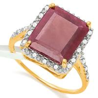 ADORABLE !  5.61 CARAT RUBY & 1/5 CARAT (22 PCS) DIAMOND 10KT SOLID GOLD RING