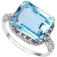 IMMACULATE ! 4.88 CARAT CREATED BLUE TOPAZ & (18 PCS) DIAMOND 925 STERLING SILVER RING