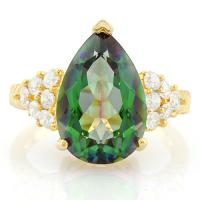 PRECIOUS ! 5.22 CARAT GREEN MYSTIC GEMSTONE & 4/5 CARAT (12 PCS) FLAWLESS CREATED DIAMOND 925 STERLING SILVER RING