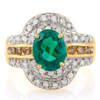 PRECIOUS ! 1.45 CARAT RUSSIAN EMERALD & 4/5 CARAT (42 PCS) DIAMOND 14KT SOLID GOLD RING