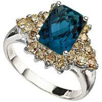 PRECIOUS !  2.74 CARAT LONDON BLUE TOPAZ & 3/4 CARAT (20 PCS) DIAMOND 14KT SOLID GOLD RING