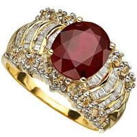 2.33 CARAT AFRICAN RUBY & 1.26 CARAT (72 PCS) DIAMOND 10KT SOLID GOLD RING