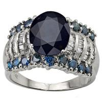 STUNNING ! 3.42 CARAT DIFFUSION GENUINE SAPPHIRE & 1.22 CARAT (72 PCS) DIAMOND 14KT SOLID GOLD RING