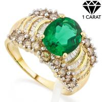 ADORABLE ! 2.10 CARAT RUSSIAN EMERALD & 1.19 CARAT (74 PCS) DIAMOND 14KT SOLID GOLD RING