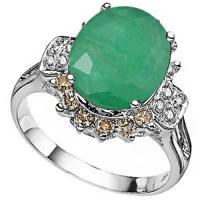 DAZZLING ! 2.46 CARAT EMERALD & 1/2 CARAT (20 PCS) DIAMOND 14KT SOLID GOLD RING
