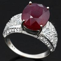 ADORABLE ! 6.84 CARAT AFRICAN RUBY & 1/3 CARAT (58 PCS) DIAMOND 14KT SOLID GOLD RING