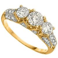 BRILLIANT !  1 CARAT (11 PCS) DIAMOND 14KT SOLID GOLD ENGAGEMENT RING