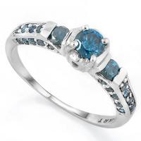 ELEGANT ! 1 CARAT (31 PCS) BLUE DIAMOND 14KT SOLID GOLD ENGAGEMENT RING