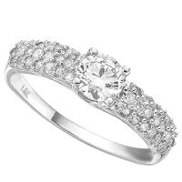 3/5 CARAT (39 PCS) DIAMOND SOLITAIRE 14KT SOLID GOLD ENGAGEMENT RING