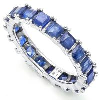 IDEAL !  3.82 CARAT (19 PCS) SAPPHIRE 10KT SOLID GOLD ETERNITY RING