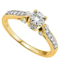 1/2 CARAT (21 PCS) DIAMOND (VS) SOLITAIRE 14KT SOLID GOLD ENGAGEMENT RING