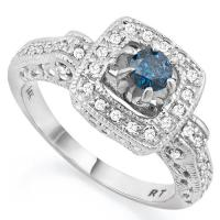 FOXY !  1/2 CARAT (57 PCS) BLUE DIAMOND 14KT SOLID GOLD RING