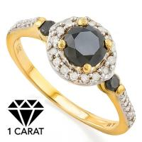 LUXURIANT !1 1/5 CARAT (19 PCS) BLACK DIAMOND 14KT SOLID GOLD RING