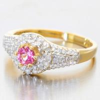 FANTASTIC !  1/4 CARAT IMPERIAL PINK TOPAZ & 1/3 CARAT (42 PCS) DIAMOND 14KT SOLID GOLD RING