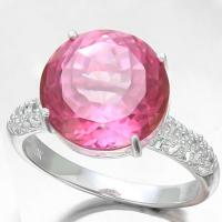 8.44 CARAT IMPERIAL PINK TOPAZ & 1/4 CARAT (30 PCS) DIAMOND 10KT SOLID GOLD RING