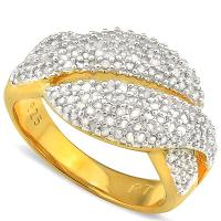 PRETTY !  1 CARAT (164 PCS) DIAMOND 18K GOLD OVER STERLING SILVER RING