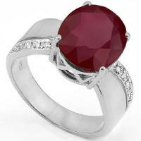 IRRESISTIBLE !  5.45 CARAT RUBY & (10 PCS) DIAMOND 925 STERLING SILVER RING
