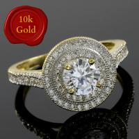RING SIZE 6.5 ! 1.25 CARAT FLAWLESS CREATED DIAMOND SOLITAIRE 10KT SOLID GOLD ENGAGEMENT RING