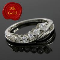 RING SIZE 6 ! 1/5 CARAT WHITE SAPPHIRE 10KT SOLID GOLD RING