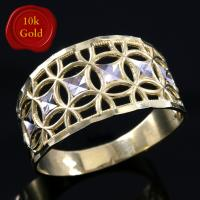 DAZZLING ! ART DECO 10KT SOLID GOLD TWO TONE RING