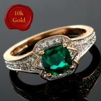SPLENDID !  1.25 CARAT CREATED EMERALD & 1/5 CARAT WHITE SAPPHIRE 10KT SOLID GOLD RING