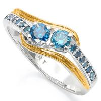 BEAUTIFUL ! 1/2 CARAT (16 PCS) BLUE DIAMOND 14KT SOLID GOLD ENGAGEMENT RING