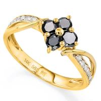 GLAMOROUS ! 1/2 CARAT BLACK DIAMOND MOISSANITE (VS) & 1/5 CARAT (16 PCS) DIAMOND 14KT SOLID GOLD RING