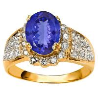 GORGEOUS ! 1.47 CARAT TANZANITE & 1/4 CARAT (30 PCS) DIAMOND 10KT SOLID GOLD RING