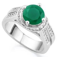 GLAMOROUS ! CREATED EMERALD & FLAWLESS CREATED DIAMOND 18K GOLD PLATED GERMAN SILVER RING