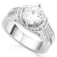 BRILLIANT ! CREATED WHITE SAPPHIRE & FLAWLESS CREATED DIAMOND 18K GOLD PLATED GERMAN SILVER RING