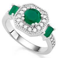 MESMERIZING ! CREATED EMERALD & FLAWLESS CREATED DIAMOND 18K GOLD PLATED GERMAN SILVER RING