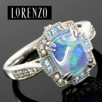 DESIGNER COLORESG by LORENZO - 1.10 CARAT CREATED BLUE OPAL & (8 PCS) BABY SWISS BLUE TOPAZ 925 STERLING SILVER RING