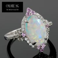 DESIGNER COLORESG by LORENZO - 1.60 CARAT CREATED ETHIOPIAN OPAL & 1/4 CARAT (8 PCS) CREATED PINK SAPPHIRE 925 STERLING SILVER RING