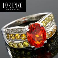 DESIGNER COLORESG by LORENZO - 3.00 CARAT (9 PCS) MADEIRA CITRINE & 2/5 CARAT (8 PCS) CITRINE 925 STERLING SILVER RING