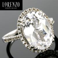 DESIGNER COLORESG by LORENZO -  8.20 CARAT (41 PCS) WHITE SAPPHIRE 925 STERLING SILVER RING