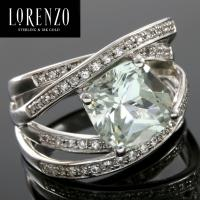 DESIGNER COLORESG by LORENZO -  4.75 CARAT GREEN AMETHYST & 3/5 CARAT (60 PCS) WHITE SAPPHIRE 925 STERLING SILVER RING
