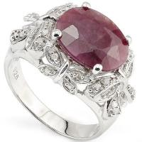 PRECIOUS !  3.17 CARAT RUBY & 1/5 CARAT (24 PCS) DIAMOND 925 STERLING SILVER RING