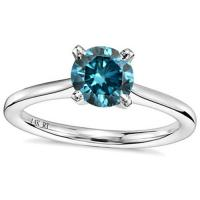 IRRESISTIBLE ! 1/4 CARAT BLUE DIAMOND SOLITAIRE 14KT SOLID GOLD ENGAGEMENT RING
