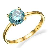 BEAUTEOUS ! 1/4 CARAT BLUE DIAMOND MOISSANITE SOLITAIRE 14KT SOLID GOLD ENGAGEMENT RING