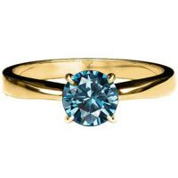 1/4 CARAT BLUE DIAMOND SOLITAIRE 14KT SOLID GOLD ENGAGEMENT RING