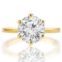 1.39 CARAT CREATED WHITE SAPPHIRE SOLITAIRE 14KT SOLID GOLD ENGAGEMENT RING
