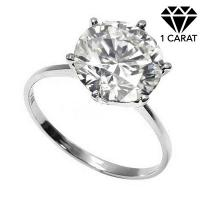 PRECIOUS ! 1 CARAT DIAMOND SOLITAIRE 14KT SOLID GOLD ENGAGEMENT RING