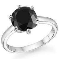 LUXURIANT ! 1 CARAT BLACK DIAMOND SOLITAIRE 14KT SOLID GOLD ENGAGEMENT RING