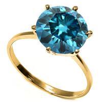 4/5 CARAT BLUE DIAMOND SOLITAIRE 14KT SOLID GOLD ENGAGEMENT RING