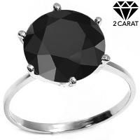 ELEGANT ! 2.11 CARAT BLACK DIAMOND SOLITAIRE 14KT SOLID GOLD ENGAGEMENT RING