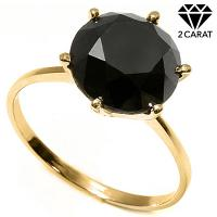 EXQUISTE !  2.14 CARAT GENUINE BLACK DIAMOND SOLITAIRE 14KT SOLID GOLD ENGAGEMENT RING