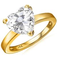 1.90 CARAT FLAWLESS CREATED DIAMOND SOLITAIRE 14KT SOLID GOLD ENGAGEMENT RING